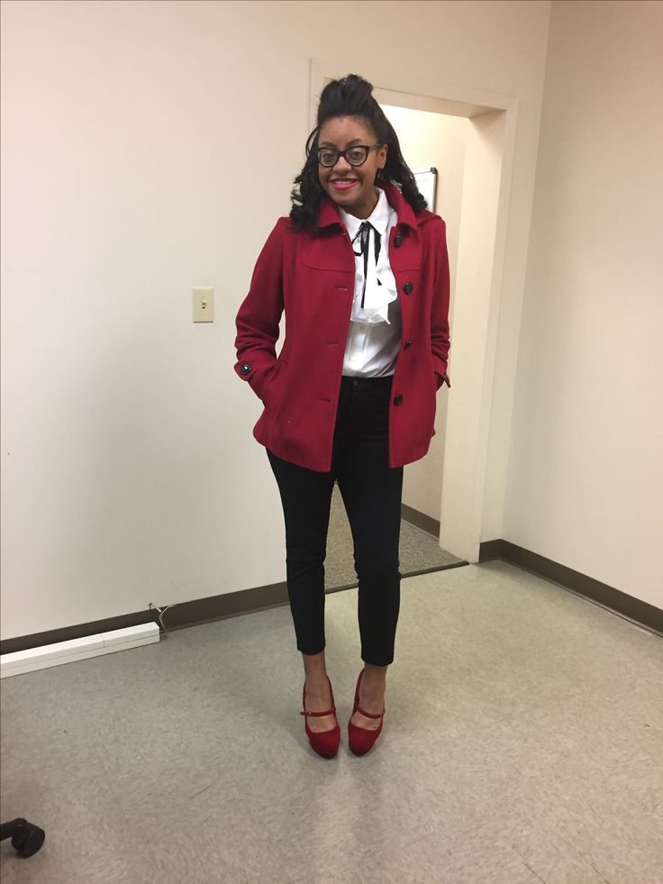 Red pea coat, red pumps