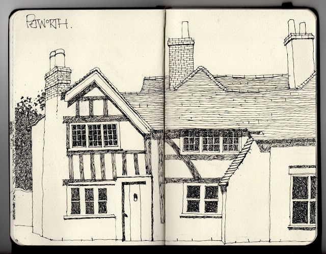 Line Art House : How to draw a house in perspective the stahl narrated