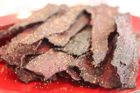 Traeger's Awesome Peppered Beef Jerky Ingredients Dark Beer1 (12-oz.) can or bottle Soy Sauce 1 cup Worcestershire Sauce 1/4 cup Brown Sugar 3 Tbsp. Morton Tender Quick curing salt (optional) 1 Tbsp. Garlic Salt 1/2 tsp Coarsely ground Black Pepper 3 - 4 Tbsp., divided Trimmed Beef Top or Bottom Round, Sirloin Tip, Flank Steak, or Wild Game 2 lbs.