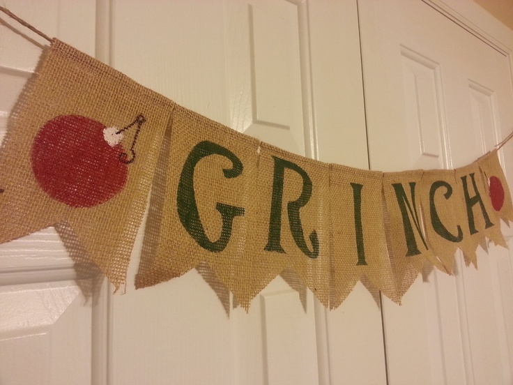burlap christmas banner grinch christmas country bunting whoville christmas decoration - next day shipping. $29.00, via Etsy.