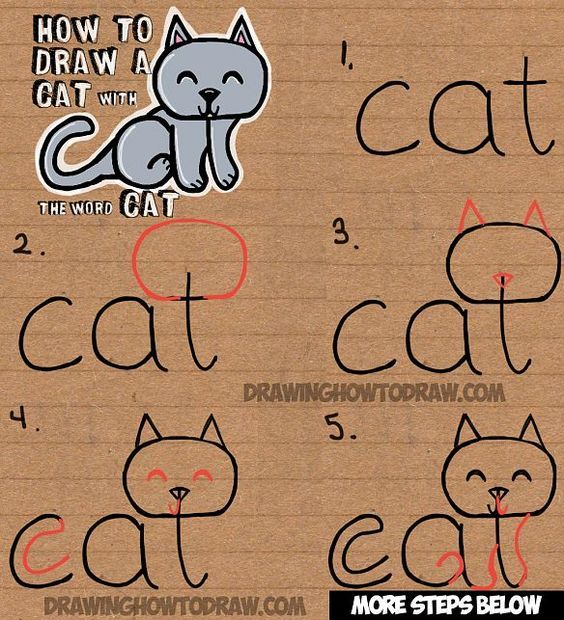 How to Draw a Cat from the word Cat Easy Drawing Tutorial for Kids – judy