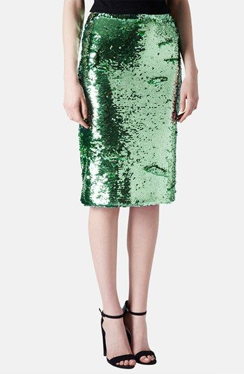 $130, Dark Green Sequin Pencil Skirt: Topshop Sequin Pencil Skirt. Sold by Nordstrom. Click for more info: https://lookastic.com/women/shop_items/136613/redirect