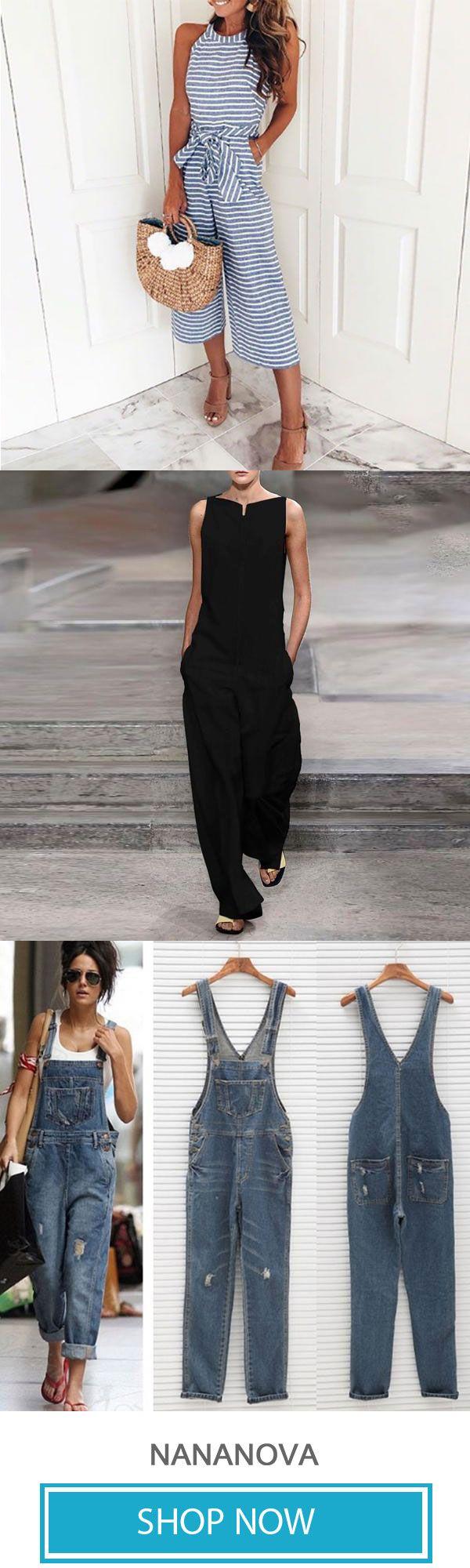 Riemen rückenfreie einfache ärmellose Overalls – Kleidung