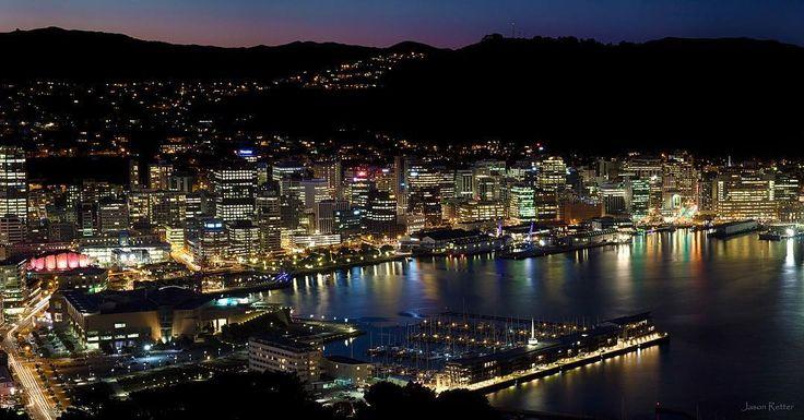 Wellington -lights up at night, New Zealand.