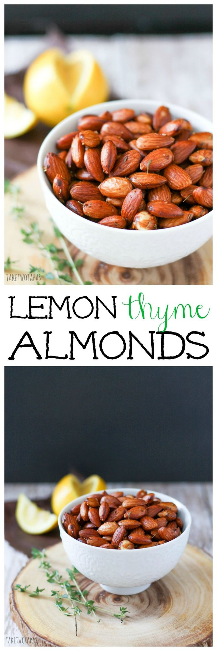 Need a healthy snack? I Toasted almonds are perfect! They are nutty and buttery. The bright flavor lemon cuts through the richness and the fresh thyme add some floral notes. These Lemon Thyme almonds are a great snack to keep you full between mealtimes! Lemon Thyme Almonds Recipe | Take Two Tapas