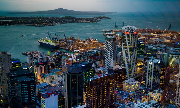 https://flic.kr/p/s6YqYh | City Lights from above | Auckland skyscrappers with rangitoto in the background