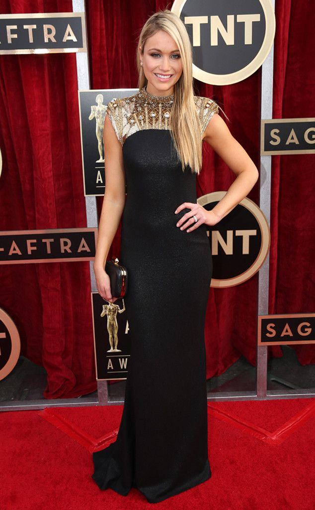 Katrina Bowden wears Badgley Mischka from 2014 SAG Awards: Red Carpet Arrivals | E! Online.  I would love to touch the material!