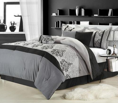 Luxury bed in a bag bedding comforter set renaissance silver black