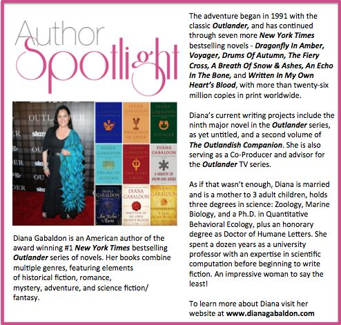 Check out this week's #AuthorSpotlight: #DianaGabaldon #Outlander #Series #NewYorkTimes #BestSellingAuthor