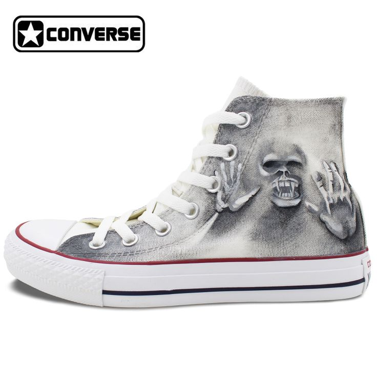 Custom Hand Painted Shoes Skull Zombie High Top Converse All Star Unique Canvas Sneakers Gifts for Men Women
