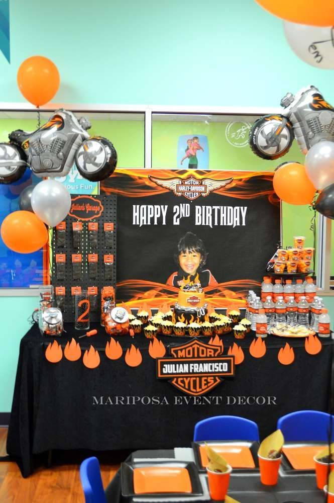 Harley Davidson motorcycle birthday party! See more party ideas at CatchMyParty.com!