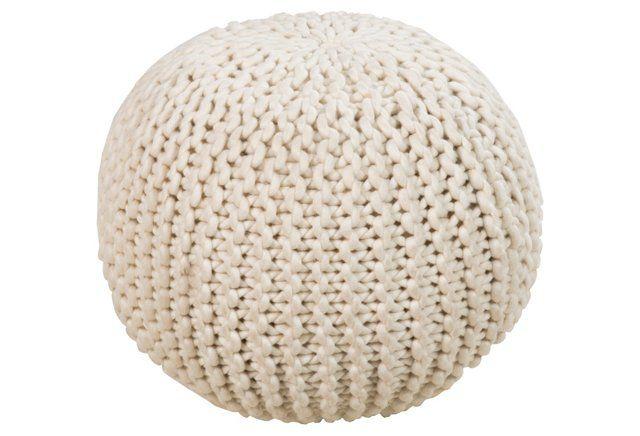 Cassie Knit Pouf, Cream $159