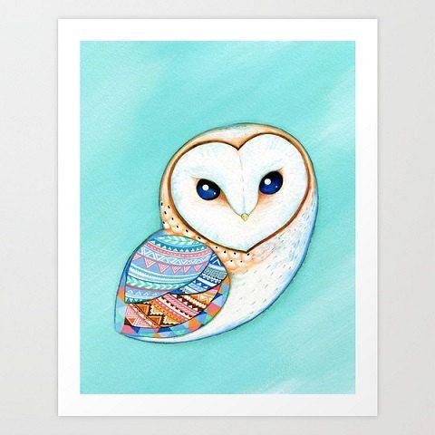 Acquerello barbagianni - Civetta art, pittura, natura, pittura ad acquerello, arte stampa