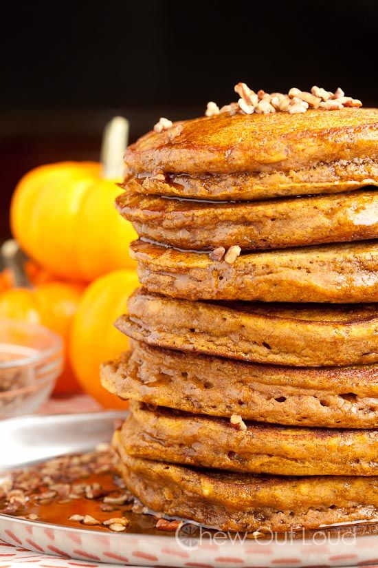 Fluffy Pumpkin Pancakes-ChewOutLoud Gooey fluffy pumpkin pancakes Sub GF flour