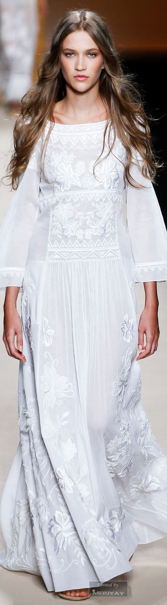 Alberta Ferretti Spring-summer 2015 ... white maxi dress ... Bohemian boho wedding gown