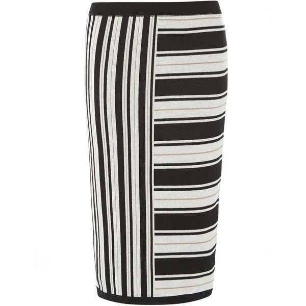 Monochrome and Camel Knitted Tube Skirt ($35) ❤ liked on Polyvore featuring skirts, black, tube skirt, camel skirt, striped skirt, stripe skirt and black tube skirt