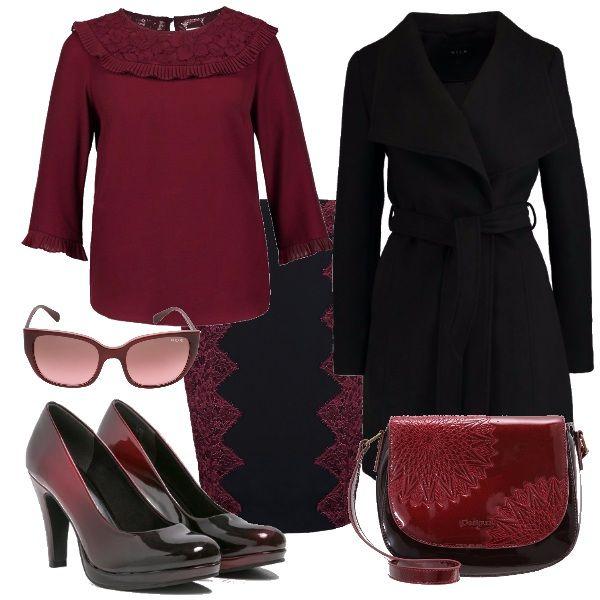 Outfit dai colori definiti ma dai dettagli e contorni delicati. Il bordeaux e il nero si rincorrono letteralmente tra il pizzo della gonna e i merletti della camicia mescolandosi e sfumandosi anche nelle scarpe e nella borsa a tracolla. Gli occhiali da sole aggiungono il tocco finale.