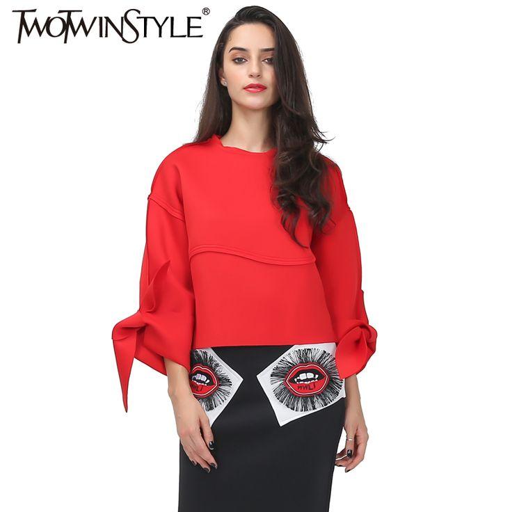 [Twotwinstyle] осень 2017 г. супер отсечения Баттерфляй манжеты Дизайн рукав «летучая мышь» свободные топы женский, Черный красного цвета Новый