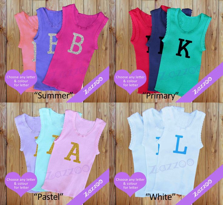 Customized/Personalized Coloured Baby Singlets / Vests Set of 3, Glitter Initial, Black, White, Coloured by Zazzoo on Etsy