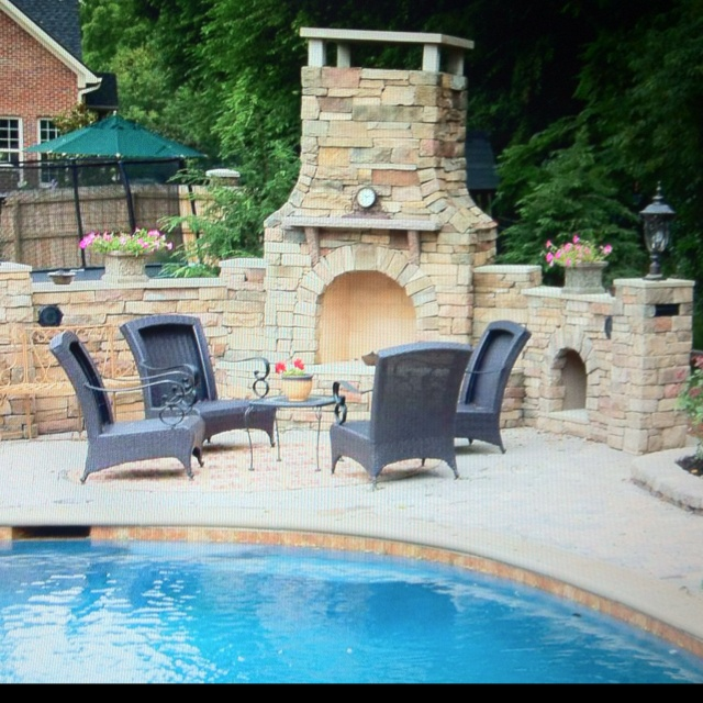 Outdoor Fireplace By The Pool Dream House Pinterest