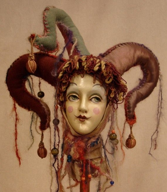 Lucinda The Medieval Jester by SirCedricsGoodHeads on Etsy, $400.00