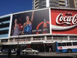 coke zero billboard in sydney .  chris searl