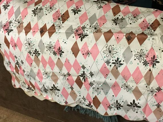 1950's Flannel Backed Plastic Retro Oblong Tablecloth by kchoos