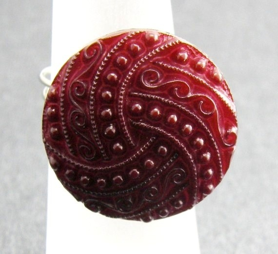 Garnet Red Textured Button Ring Wire Wrapped by TrinketsNWhatnots, $20.00