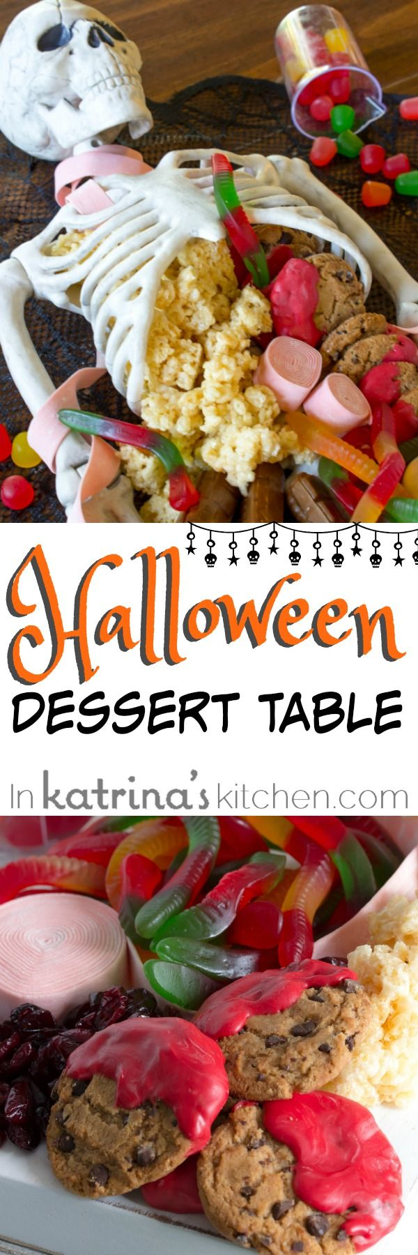 Halloween food table decorations - Everyone Will Love This Halloween Dessert Table Spooky Quick And Easy Halloween Centerpiece