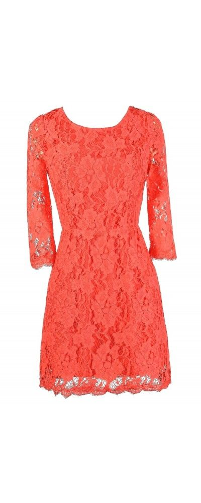 Simple Yet Stunning Lace Open Back Three Quarter Sleeve Dress in Coral  www.lilyboutique.com