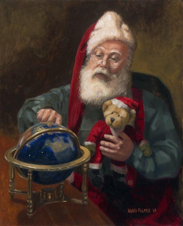 Father Christmas and a cute teddy