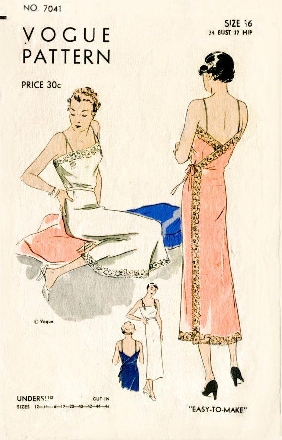 1930s 30s vintage Vogue 7041 lingerie sewing pattern lace wrap dress slip negligee bust 34 b34