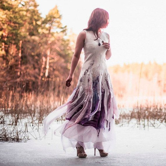 Alternative wedding dress Bohemian wedding dress Off by hedgiefelt