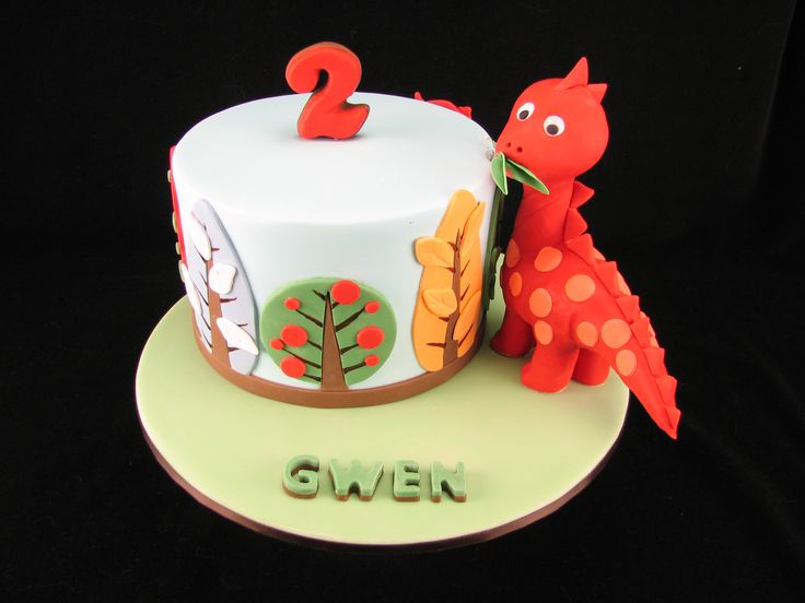 Chocolate mudcake with forest trees and a fondant covered LCM dinosaur