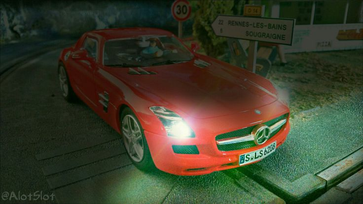 Mercedes SLS Street Version (Carrera) in my Slot Car Track  #mercedes #sls #amg #german #street #germancar #SlotCarTrack #slot #hobby #scenary #slotcar #alotslot #scalextric #scx #ninco #carrera #slotit #rally #rallycar #racing #race #dreamcar #wrc #gp #gt #f1 #lemans #diorama #scale132 #hobby #modelism #diecast #miniature #toy #modelcar #night #light