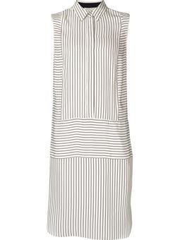 полосатое платье-рубашка без рукавов