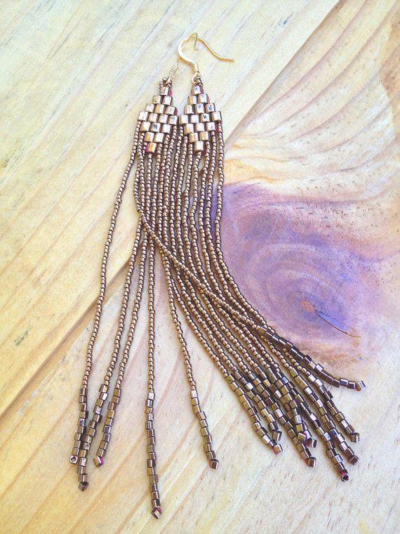 Bronze Bead Earrings Seed Bead Fringe Earrings by BoomBoomDynamite, $36.00