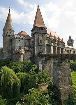 Castle in Hunedoara by Hiroshi Nakanishi  The greatest Gothic-style castle in Romania, Hunyad, aka. Corvinesti castle was built by the Anjou family on the site of a former Roman camp.  Amazing.  Have to go back and see this!!