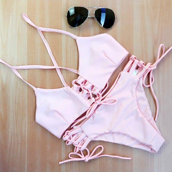 Новинка тонкий женщин сексуальный свободного покроя бинты розовый комплект бикини купальники старинные купальник размер,M купить на AliExpress