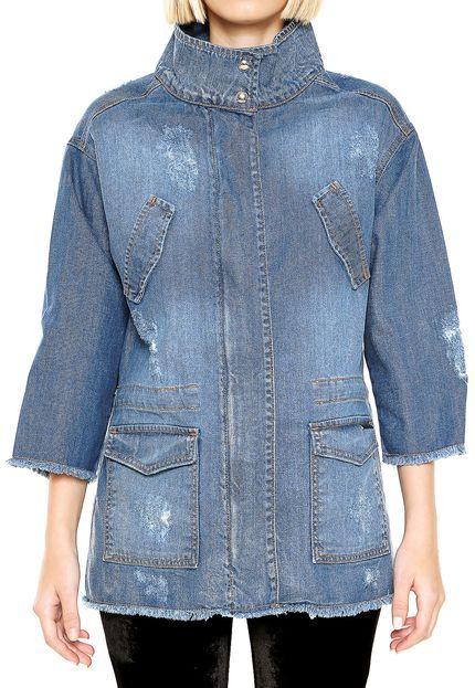 bf5c91685 Jaqueta Jeans Colcci Estonada Azul - Marca Colcci