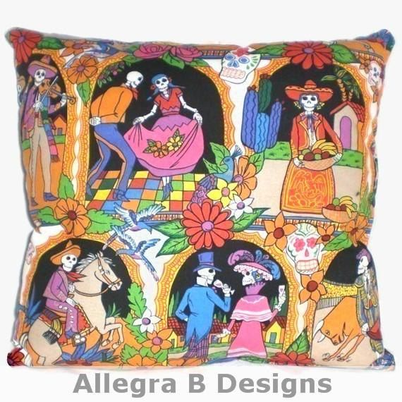 On Sale Clearance Day Of The Dead Vida De Los Muertos Pillow Rockabilly Home Decor