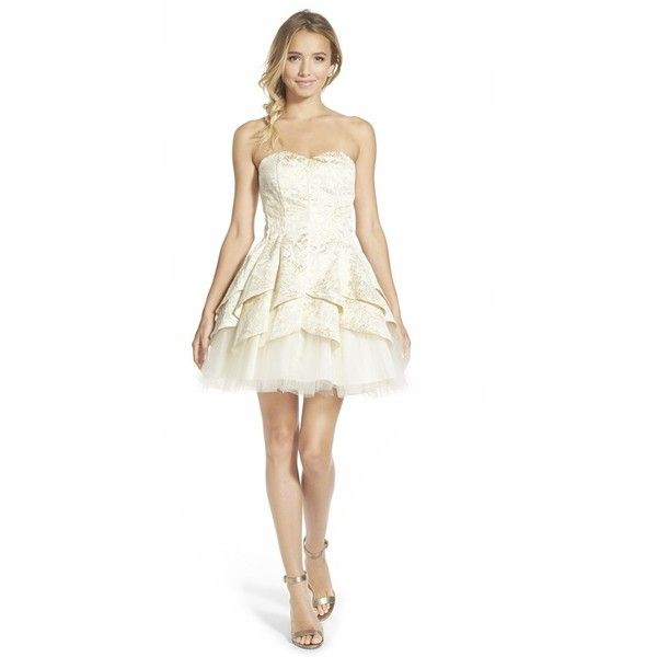 Junior Women's Steppin Out Brocade Strapless Fit & Flare Dress ($118) ❤ liked on Polyvore featuring dresses, gold, white dress, white pleated dress, white fit and flare dress, white sweetheart cocktail dress and sweetheart cocktail dress
