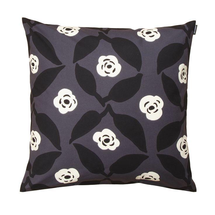 Marimekko Poppy Grey / White / Black Throw Pillow