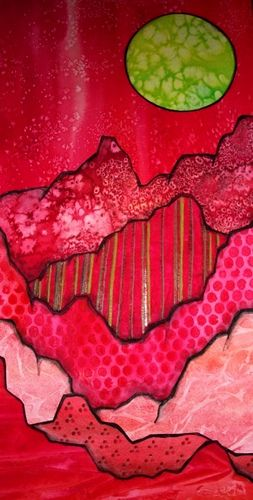 Rough Red (revisted) by TnTedE, via Flickr wc with pattern overlay. could also see using fabric to create layered landscape...or even still life art...