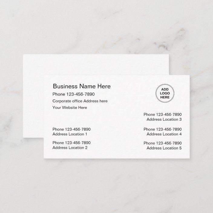 Multiple Location Business Cards Logo Template Zazzle Com Business Card Logo Logo Templates Business Cards