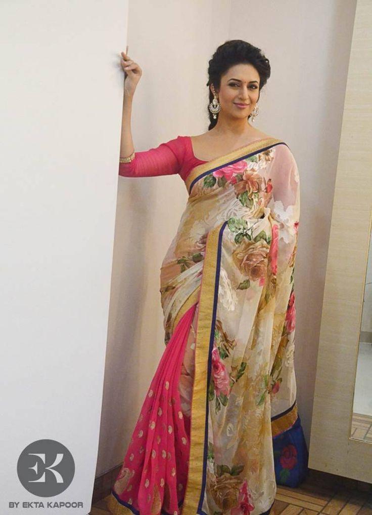 Divyanka Tripathi in EK Label's Chiffon Georgette Floral Saree With Brasso
