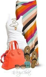 Stitch Fix - Love the diagonal pattern & colors on the maxi skirt.                                                                                                                                                      More