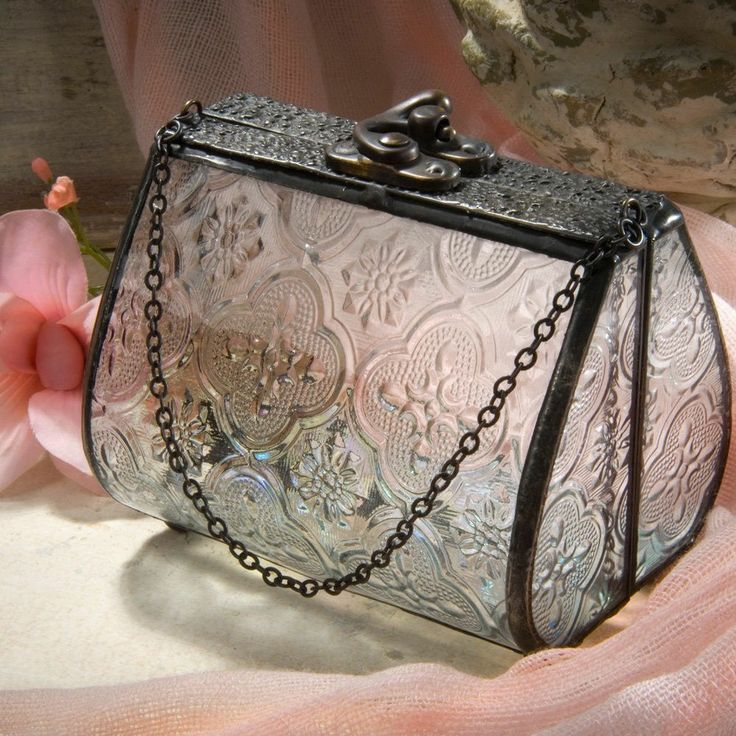 J Devlin Decorative Vintage Purse Glass Keepsake Jewelry