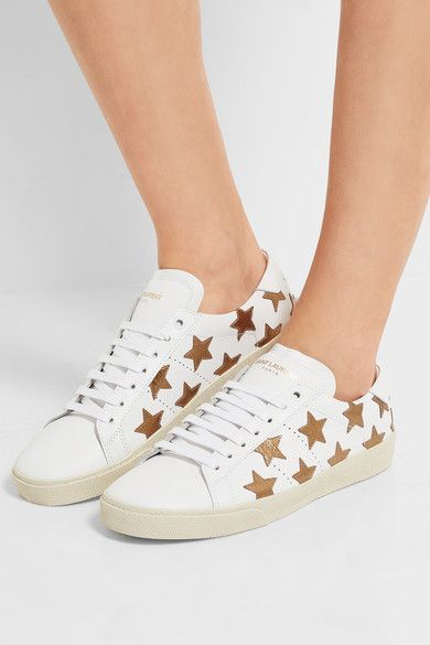 Saint Laurent - Court Classic Appliquéd Leather Sneakers - White