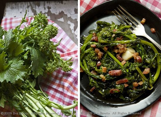 INGREDIENTI: •  un mazzo di rape •  pancetta affumicata, tagliata a cubetti •  peperoncino •  aglio •  sale •  olio extravergine di oliva  PROCEDIMENTO: